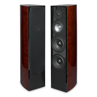 R5Ti Tower Speaker, Front, Red Burl